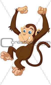 Little cute funny cartoon brown monkey vector