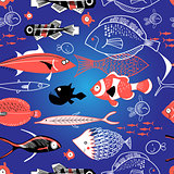 Seamless pattern of bright fish