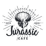 Jurassic cafe logo template. Dinosaur vegetarean menu logotype. Dino tattoo studio mascot design. Vector sunburst label. Cretaceous period park retro illustration. Fury Dino insignia concept. Ancient world badge