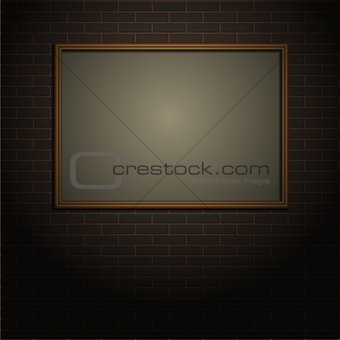 Brick wall with frame, vector illustration
