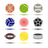 Icons balls, vector illustration.