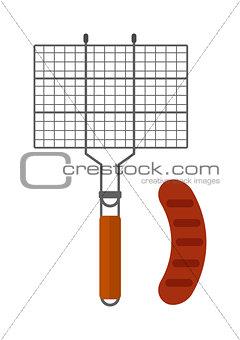 Grilling basket vector illustration.