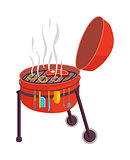 Kettle barbecue grill vector illustration.