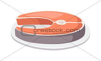 Fish slice vector illustration.