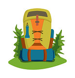 Vector flat hiking travel backpack bag.