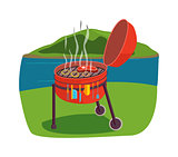 Outdoor grill vector illustration.