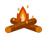 Bonfire isolated vector illustration.