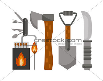 Camping tools vector illustration.