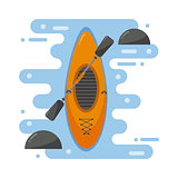 Kayaking boat vector illustration.
