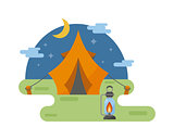 Outdoor tent vector illustration.