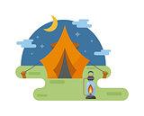 Outdoor tent vector illustration.