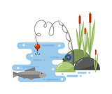 Fishing landscape vector iillustration.