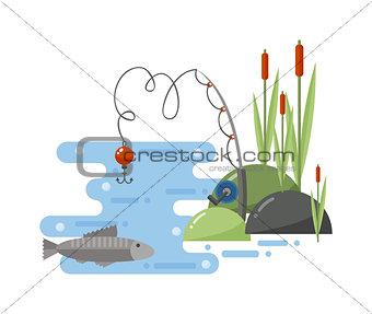 Fishing landscape vector iillustration.