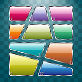 Set of colorful plates on abstract background.