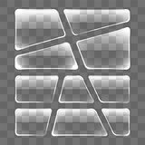 Transparent glass plates set on a gray background.