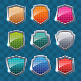 Collection of colorful shields on colorful background.