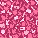Background for woman, shopping items on seamless pattern
