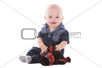 toddler girl on white background