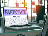 Participate Concept on Laptop Screen.