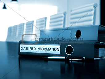 Classified Information on Binder. Toned Image.