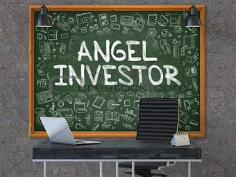 Angel Investor on Chalkboard in the Office.