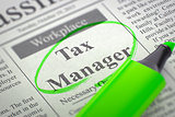 Tax Manager Job Vacancy.