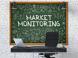 Market Monitoring on Chalkboard with Doodle Icons.