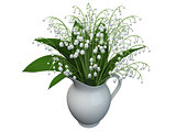 3D rendering of a lily-of-the-valley flowers,
