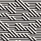 Vector Seamless Black And White Horizontal Diagonal Lines Irregular Pattern