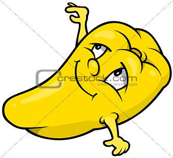 Cartoon Yellow Bell Pepper - Vector Illustration