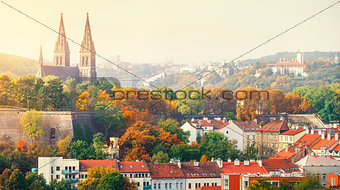 Prague sunset landscape from view to Vysehrad