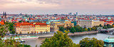 Sunset landscape view to Vltava river in Prague