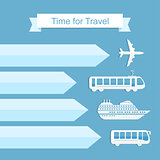 Modern vector illustration with airplane, bus, ship and train for presentation, booklet, website. Time for travel concept