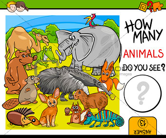 count animals activity for children