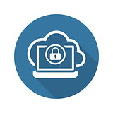 Secure Cloud Access Icon. Flat Design.
