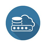 Secure Cloud Storage Icon. Flat Design.