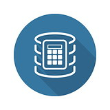 Secure Database Icon. Flat Design.