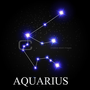 Aquarius Zodiac Sign with Beautiful Bright Stars on the Backgrou