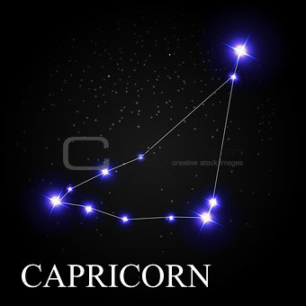 Capricorn Zodiac Sign with Beautiful Bright Stars on the Backgro