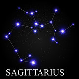Sagittarius Zodiac Sign with Beautiful Bright Stars on the Backg