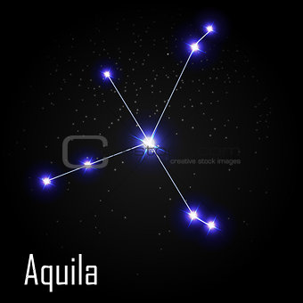 Aquila Constellation with Beautiful Bright Stars on the Backgrou