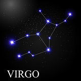 Virgo Zodiac Sign with Beautiful Bright Stars on the Background