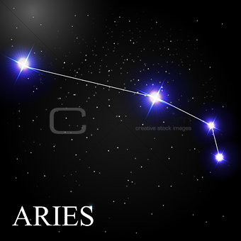 Aries Zodiac Sign with Beautiful Bright Stars on the Background