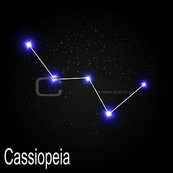 Cassiopeia Constellation with Beautiful Bright Stars on the Back