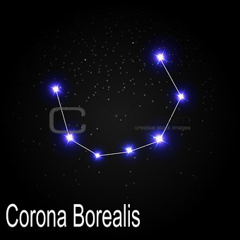 Corona Borealis Constellation with Beautiful Bright Stars on the
