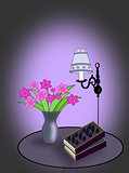 Lamp, Books and Flowers.