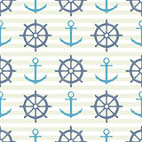 Seamless pattern with steering wheel and anchor on striped background