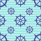 Seamless pattern with steering wheel on striped blue background.