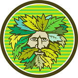 Green Man Foliate Head Circle Retro