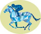 Jockey Horse Racing Oval Low Polygon